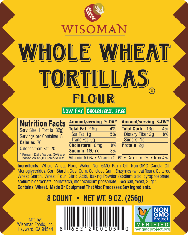 Wisoman Whole Wheat Tortilla